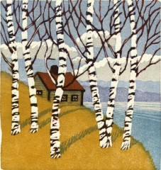 woodblock print of Birches, Early Spring