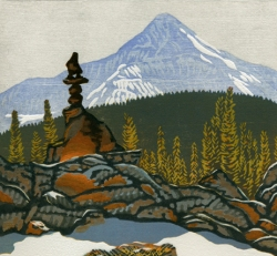 woodblock print of Cairn, Lone Peak