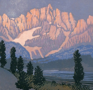 Woodblock print, First Light, Rocky Mountain, after E. Payne