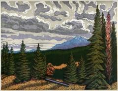 woodblock print, Lone Peak