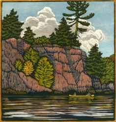 woodblock print, River Cliffs