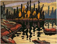 woodblock print, Shimmering Waters