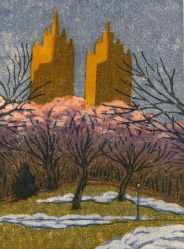 woodblock print, Snow, Central Park