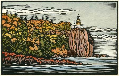 Woodblock print - Light of the Rock