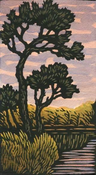 Woodblock print - Solemn Stream II