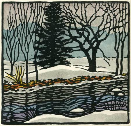 Woodblock print - Winter Creek