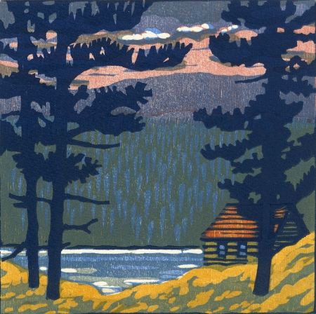 Red Sky at Morning - Five-block woodblock print