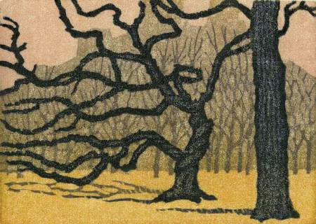 Woodblock Print - Two Trees Central Park