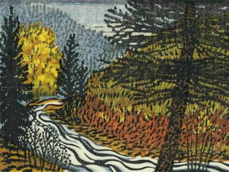Woodblock print - Bend in the RIver