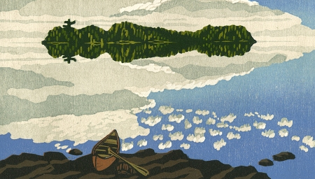 Woodblock print - Island of the Sky
