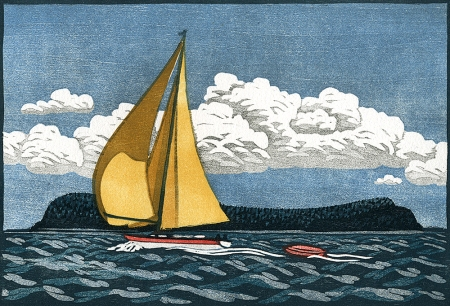 Into the North - woodblock print