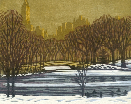 Sunrise, Central Park - woodblock print