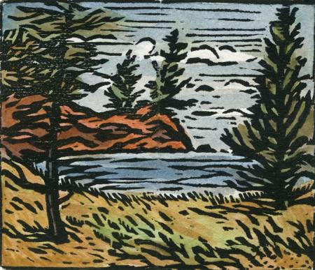 Small Bay - Woodblock print
