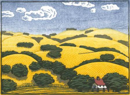 Color woodblock print - Oaks in Summer II